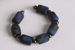 Black and Glittered Blue Bracelet