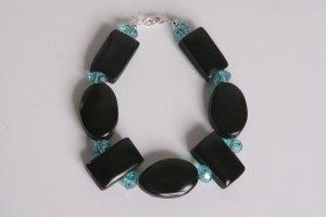 Black and Turquoise Swarovski Crystal Bracelet