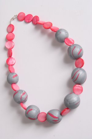 Gray Pink and Silver Clay and Shell Necklace