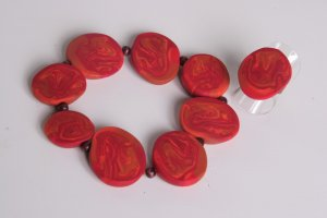 Orange Red and Tan Stretch Bracelet