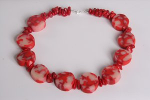 Red and Sheer Tone Necklace
