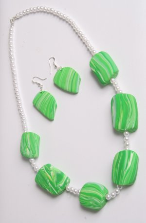 Green and White Necklace and Earring Set