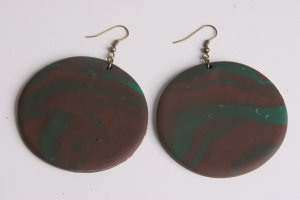 Large Chocolate Brown and Turqouise Earrings