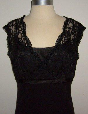 S.L.Fashions Petite Black Lace Dress: Size 12p