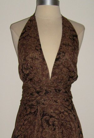 Brown Paisley Print Halter Silk Dress: Size 12