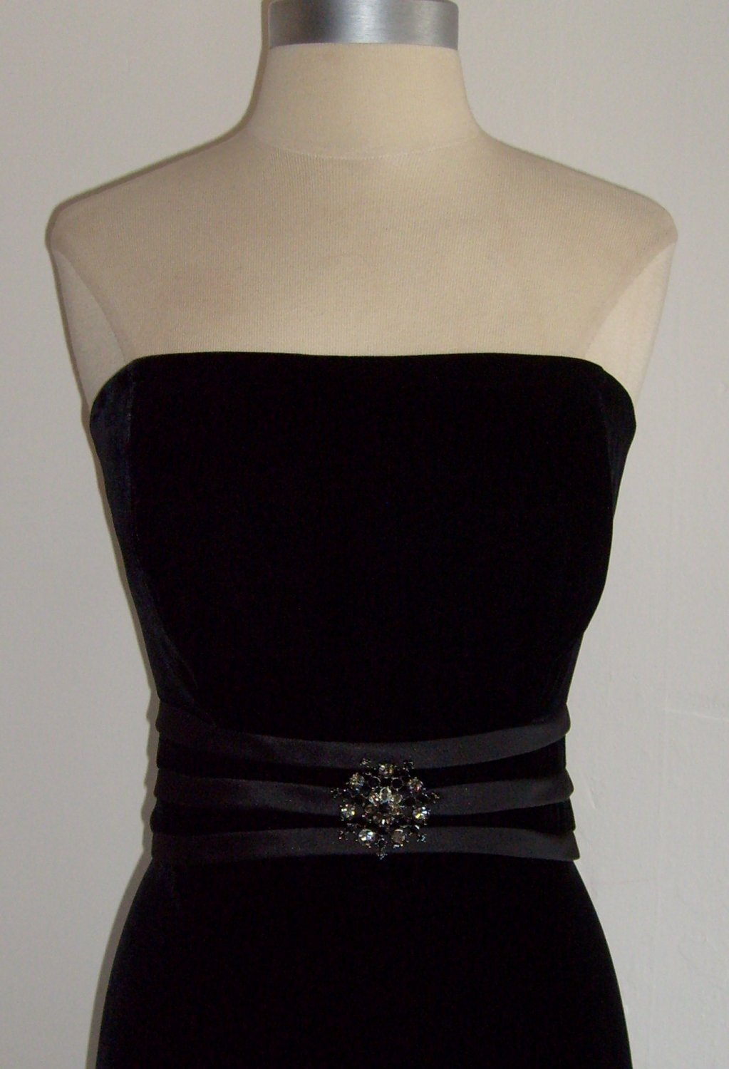 Talbots Black Velvet Strapless Cocktail Dress Size 10 Sold