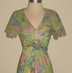 Vintage Capelet Maxi Floral Print Dress Size 8