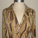 Gold Retro Print Shirt Dress Size S