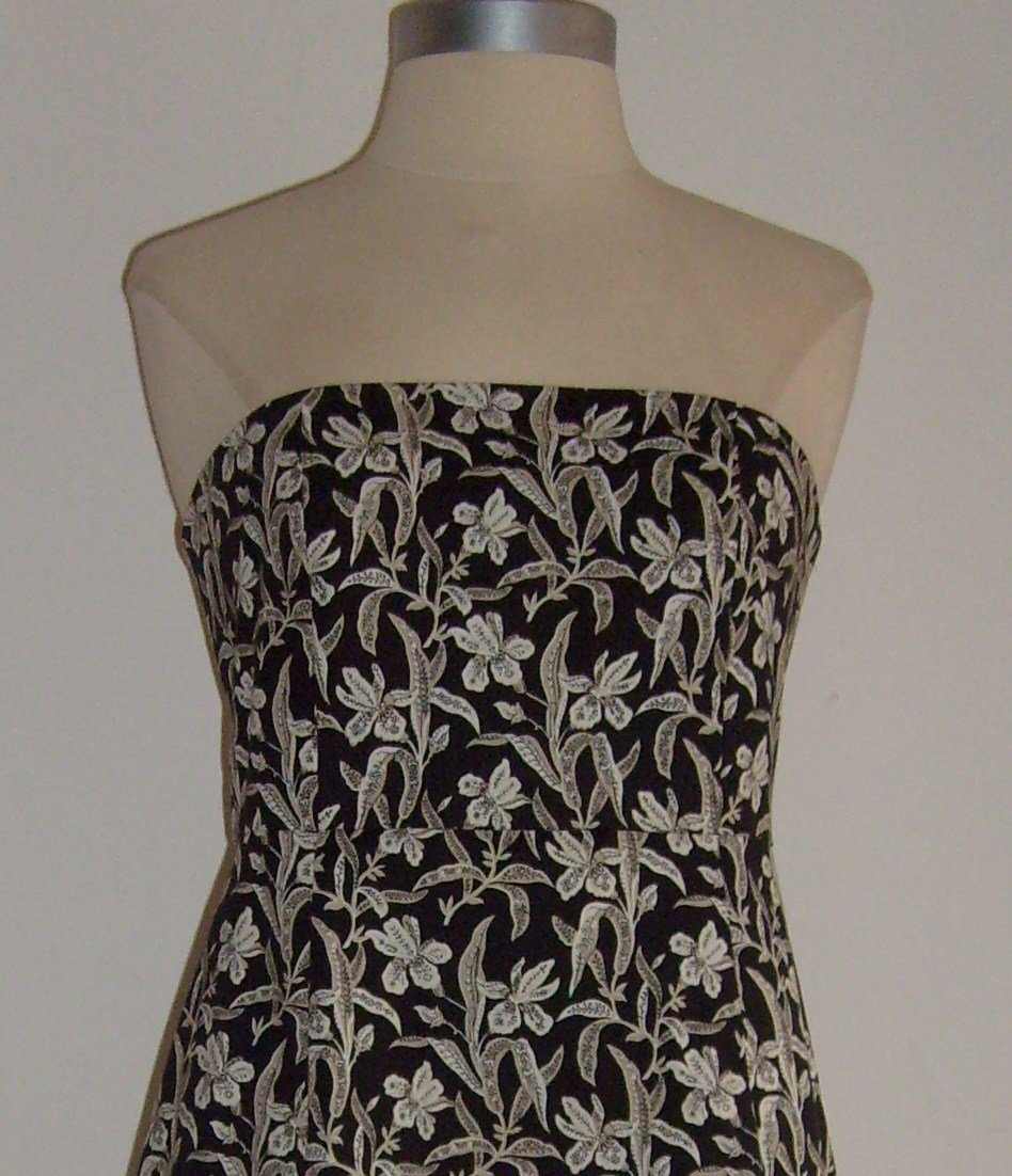 Gap Black Floral Print Strapless Dress Size 6