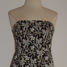 Gap Black Floral Print Strapless Dress Size 6