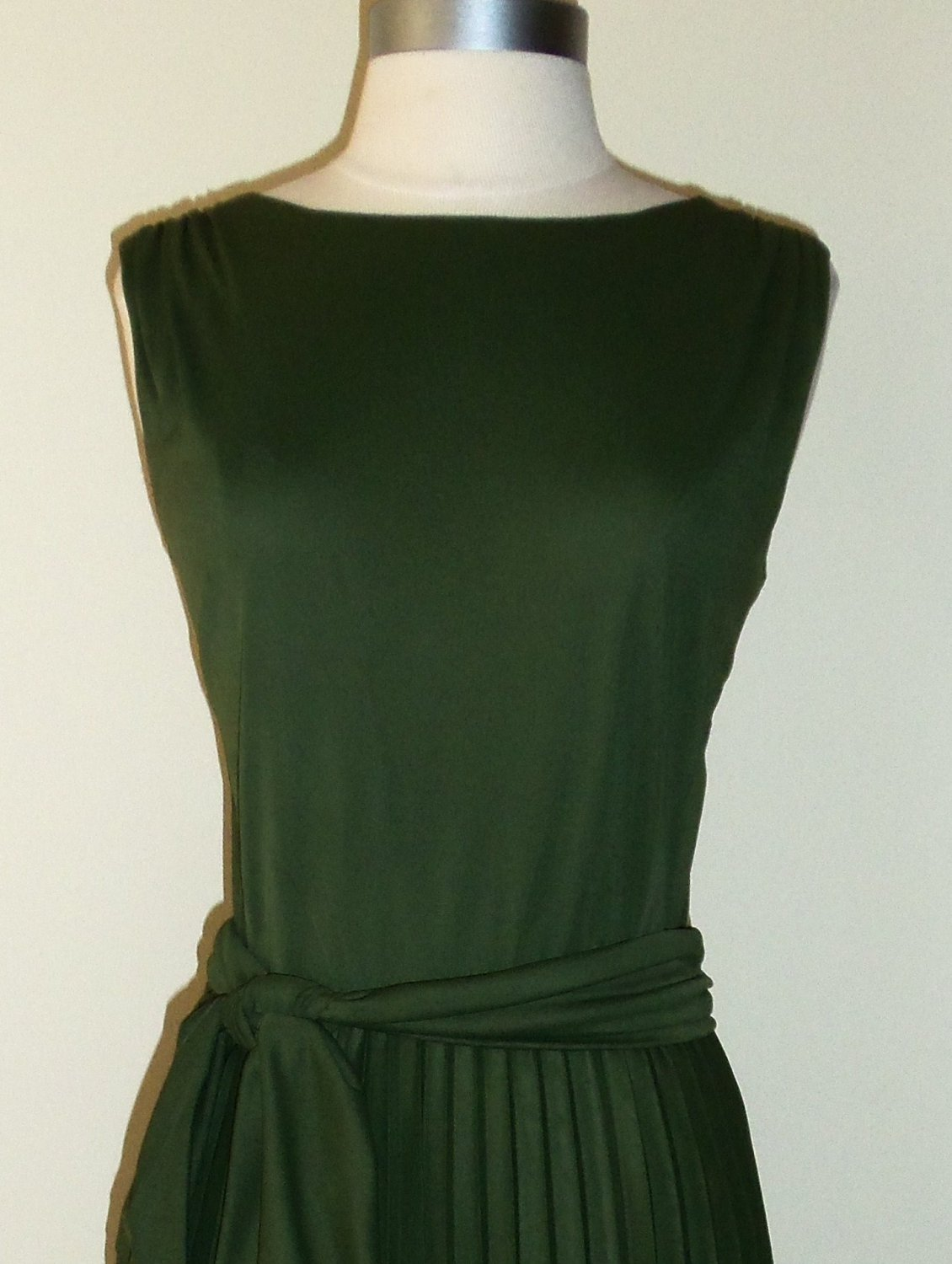 Vintage Olive Green Pleated Dress Size S ~ SOLD