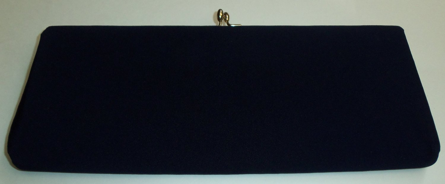 Vintage Navy Blue Rectangle Fabric Clutch
