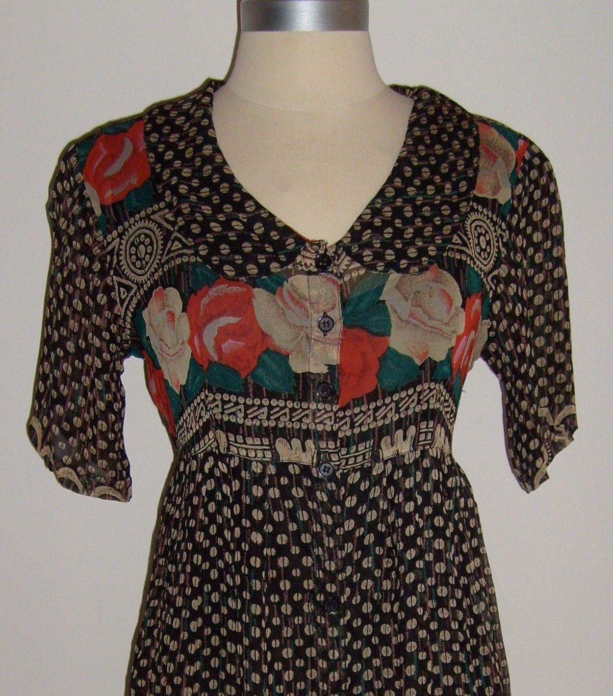 Vintage Papillon Floral Print Shirtwaist Dress Size 10