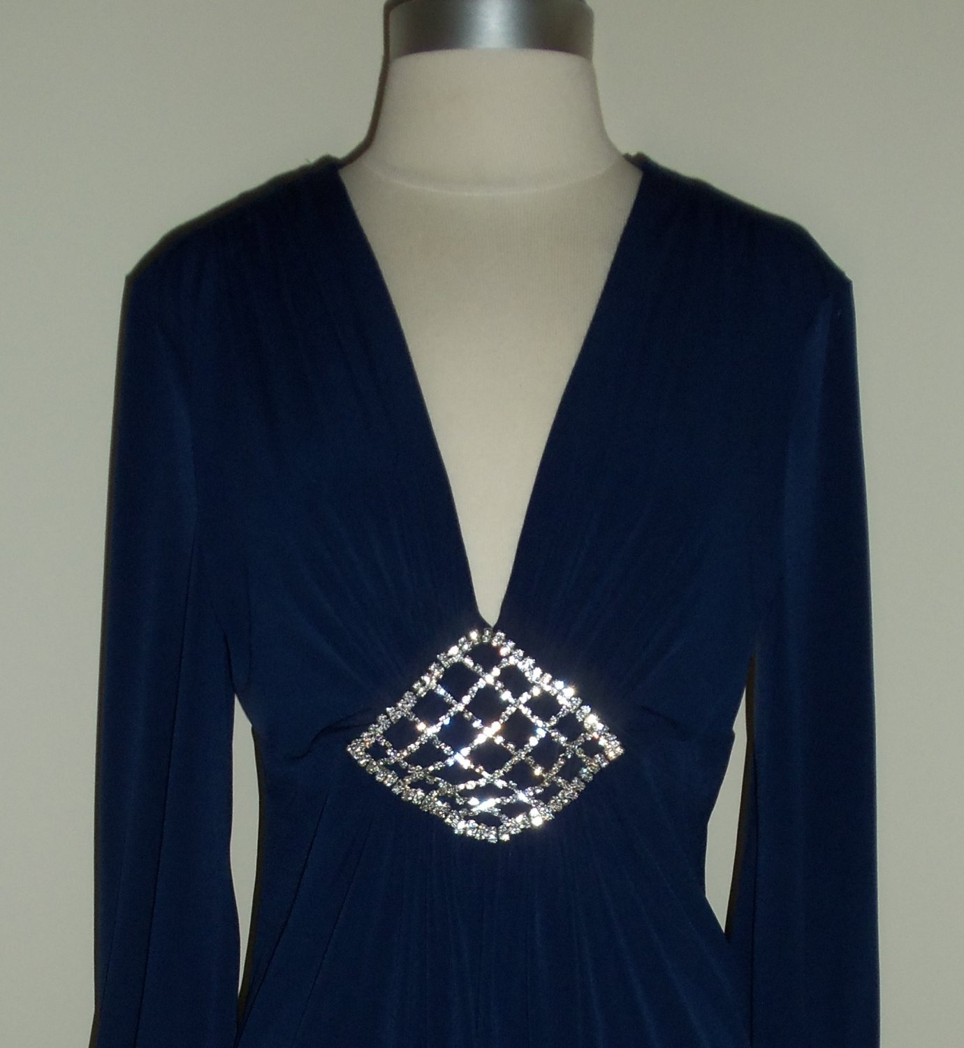 AGB Navy Blue Dress with Rhinestone Brooch Size 14 ~ SOLD
