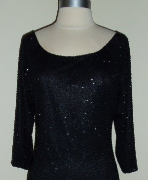Brilliante by J.A. Black Beaded Shift Dress Size M