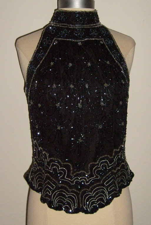 Papell Boutique Evening Beaded Silk Halter Top: Size M