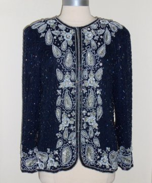 Laurence Kazar Embroidered Vintage Beaded Trophy Jacket