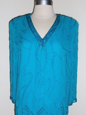 Nightline Turquoise Beaded Sequined Dress Size 8