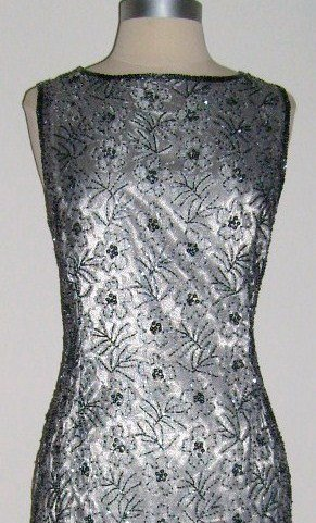 Sténay Silver Beaded Cocktail Dress size 6