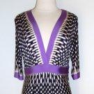 BCBG MAX AZRIA Basket Weave Print Jersey Dress Size L