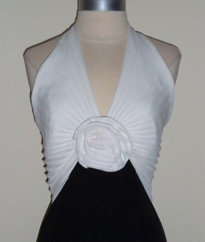 Vintage Black and White Accordion Halter Gown from Dave and Johnny Size 6