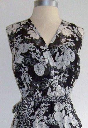 M.S.K Black & White Floral Chiffon Dress Size 10