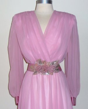 Vintage Pink Chiffon Dress by Nah Nah Collection Size 10
