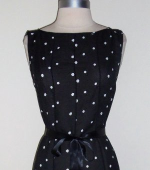 Attention Grabbing Black and White Polka Dot Dress by Dressbarn Size 12