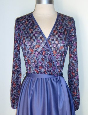 Cofa�s Closet Vintage Floral Print Faux Wrapped Dress Size S Petite