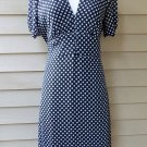 Essential by Milano Navy Polka Dot Dress Size 10