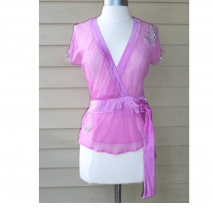 Sweet by Miss Me Pink Wrap Silk Top Size M