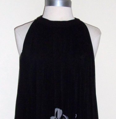 Black Floral Trapeze Cocktail Dress by Dressbarn Size 8