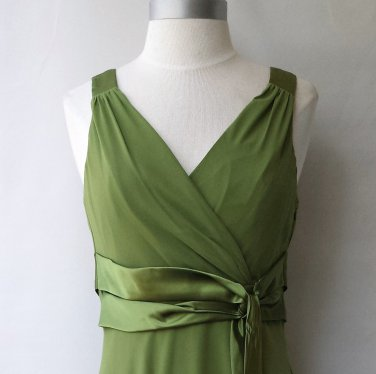Evan-Picone Sleeveless Satin Tie Leaf Dress Size 8