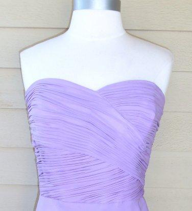 Ralph Lauren Strapless Silk Lavender Ruched Dress Size 12