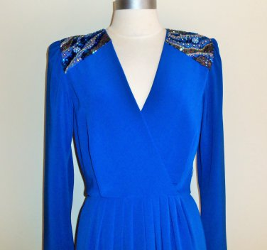 Miss Elliette Cobalt Blue Vintage Dress Size 6