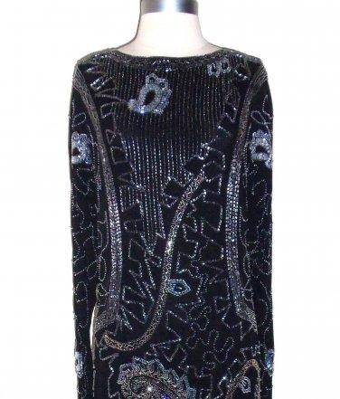 Designer Fabrica Heavily Beaded Black Dress Size L