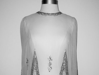 Sheer Beaded Chiffon Vintage-Inspired Blouse Size L