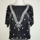 Oleg Cassini Beaded Black and White Blouse – Size M