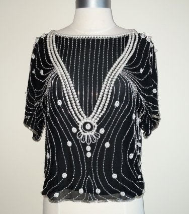 Oleg Cassini Beaded Black and White Blouse � Size M