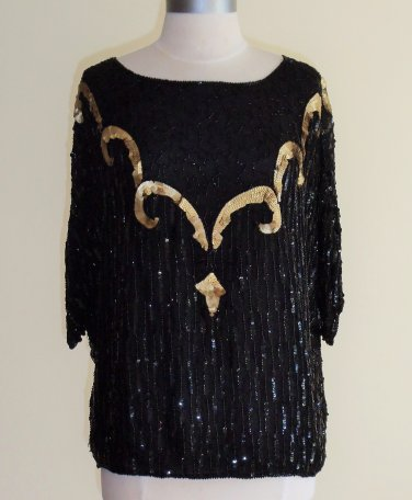 Lauren Alexandra Black and Gold Beaded Sequined Blouse Size L