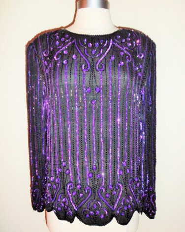 SCALA Vintage Black Purple Iridescent Beaded Sequined Blouse Size L