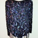 SHO MAX Originals Black Iridescent Beaded Sequined Blouses Size L