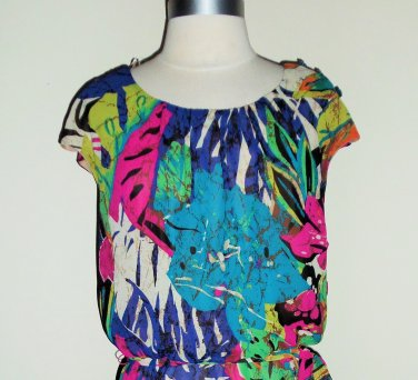 Signature by Robbie Bee Multi Color Floral Print Blouson Dress Size 16