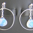 Moon stone and sterling silver hoop earrings