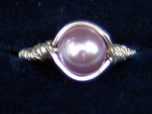 Sterling Silver Wrapped Band With Lavender Pearl Ring