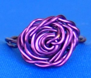 Adorable Handmade Rose Rings, Purple