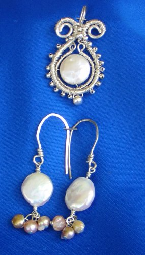 White Coin Pearl, Sterling Silver Fine Wire wrapped, with S.S. Beads, Pendant and Earrings Set