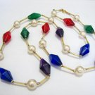 free shipping ~ NB1020 MULTICOLOR BEADS& PEARL JEWELRY NECKLACE 31 inches