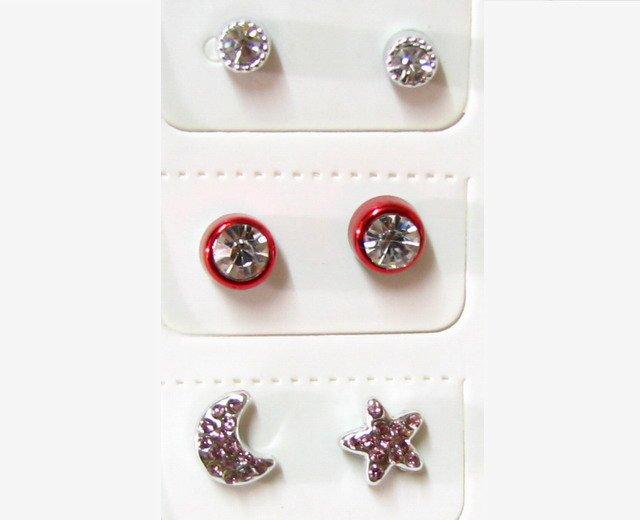 E227 MAGNETIC RHINESTONE EARRINGS 3 PAIRS *No pierced!