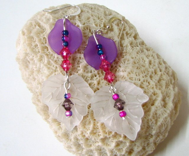 E1004 Impression of Flower- Wisteria Floral Earrings 7cm